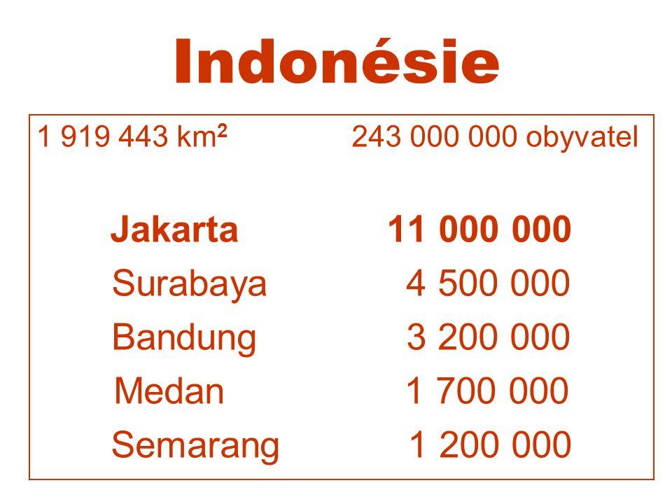 Indonésie 1 919 443 km 2 243 000 000 obyvatel Jakarta 11 000 000 Surabaya 4 500 000 Bandung 3 200 000 Medan 1 700 000 Semarang 1 200 000