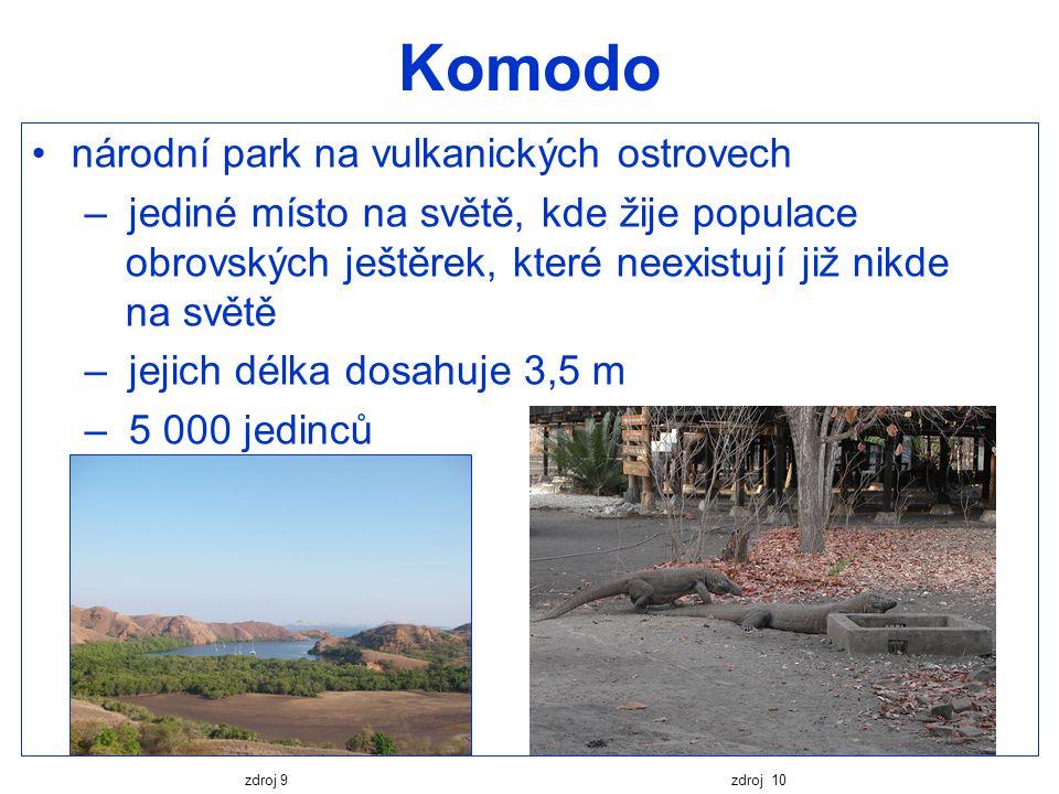 Komodo národní park na vulkanických ostrovech – jediné místo na světě, kde žije populace obrovských ještěrek, které neexistují již nikde na světě – je