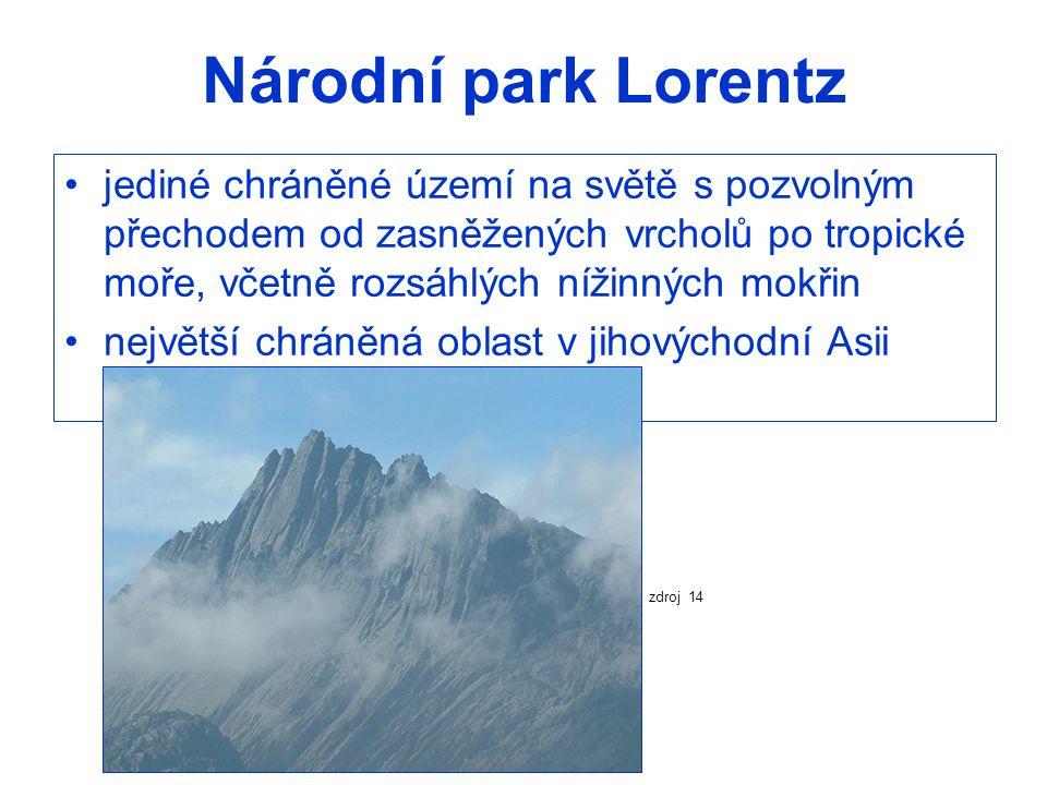 Národní park Lorentz jediné chráněné území na světě s pozvolným přechodem od zasněžených vrcholů po tropické moře, včetně rozsáhlých nížinných mokřin