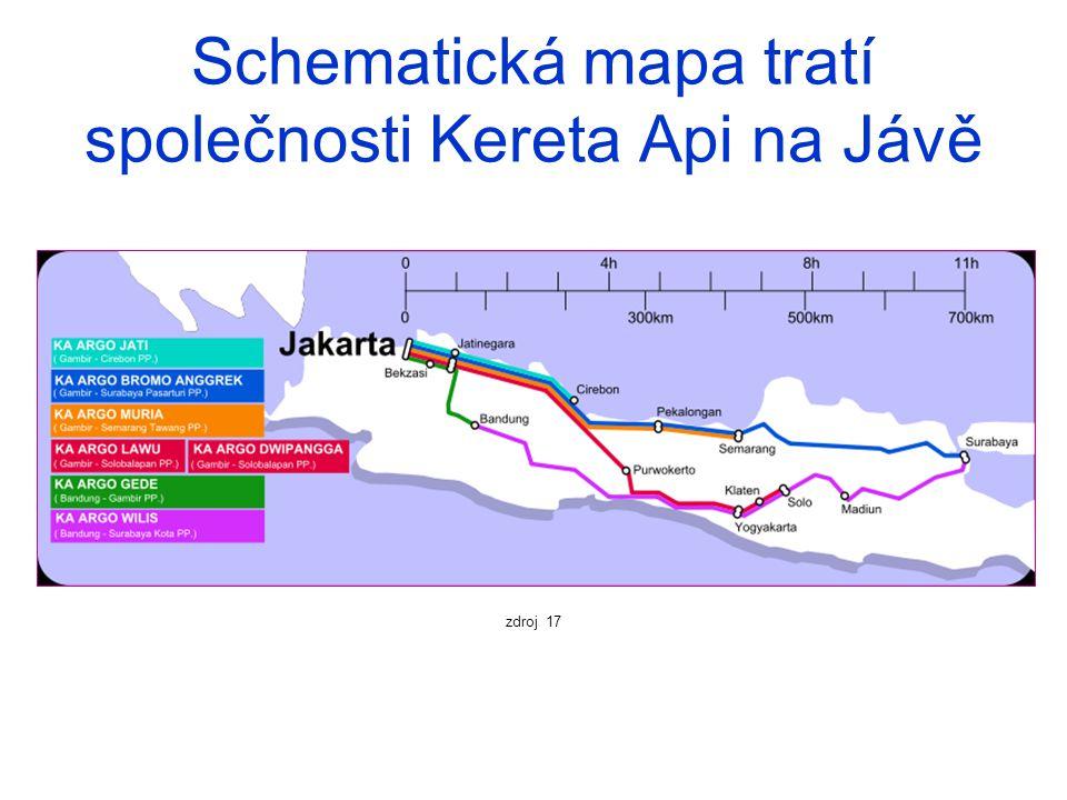 Schematická mapa tratí společnosti Kereta Api na Jávě zdroj 17