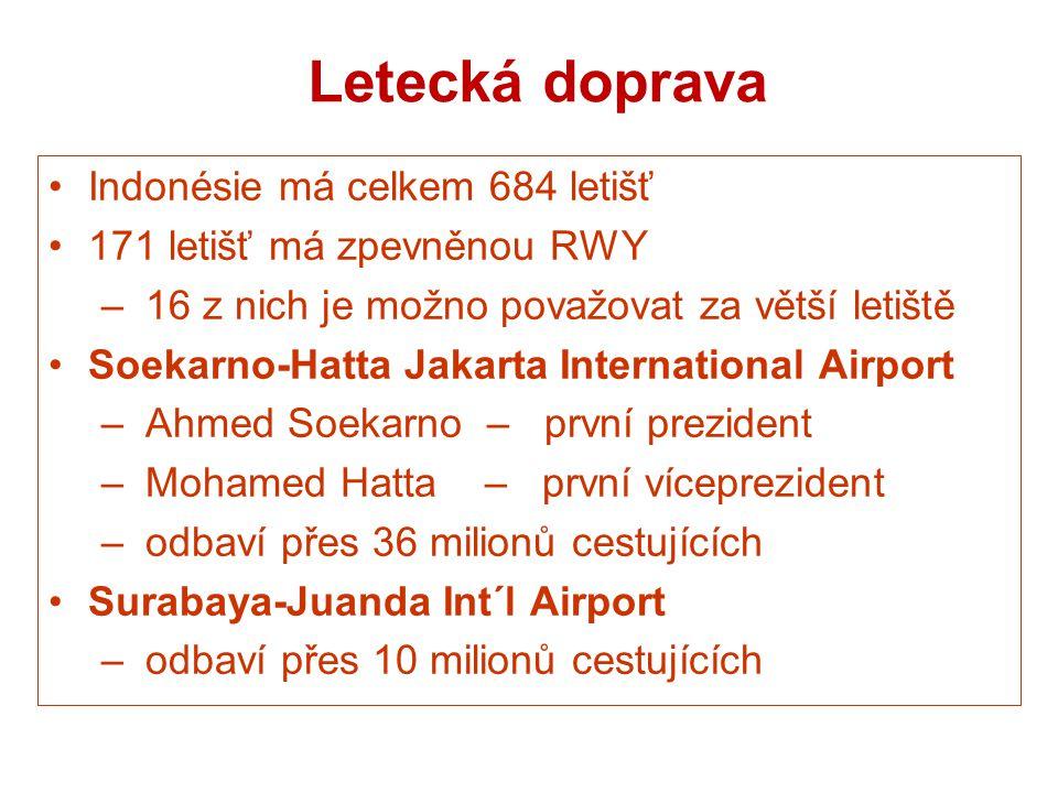 Letecká doprava Indonésie má celkem 684 letišť 171 letišť má zpevněnou RWY – 16 z nich je možno považovat za větší letiště Soekarno-Hatta Jakarta Inte