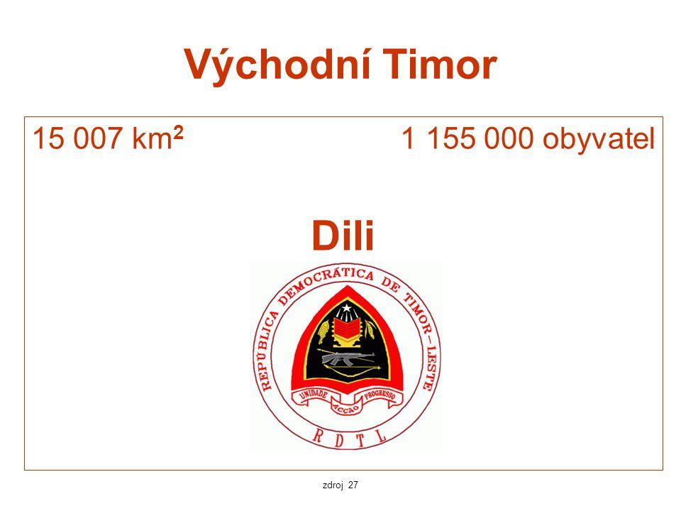 Východní Timor 15 007 km 2 1 155 000 obyvatel Dili zdroj 27