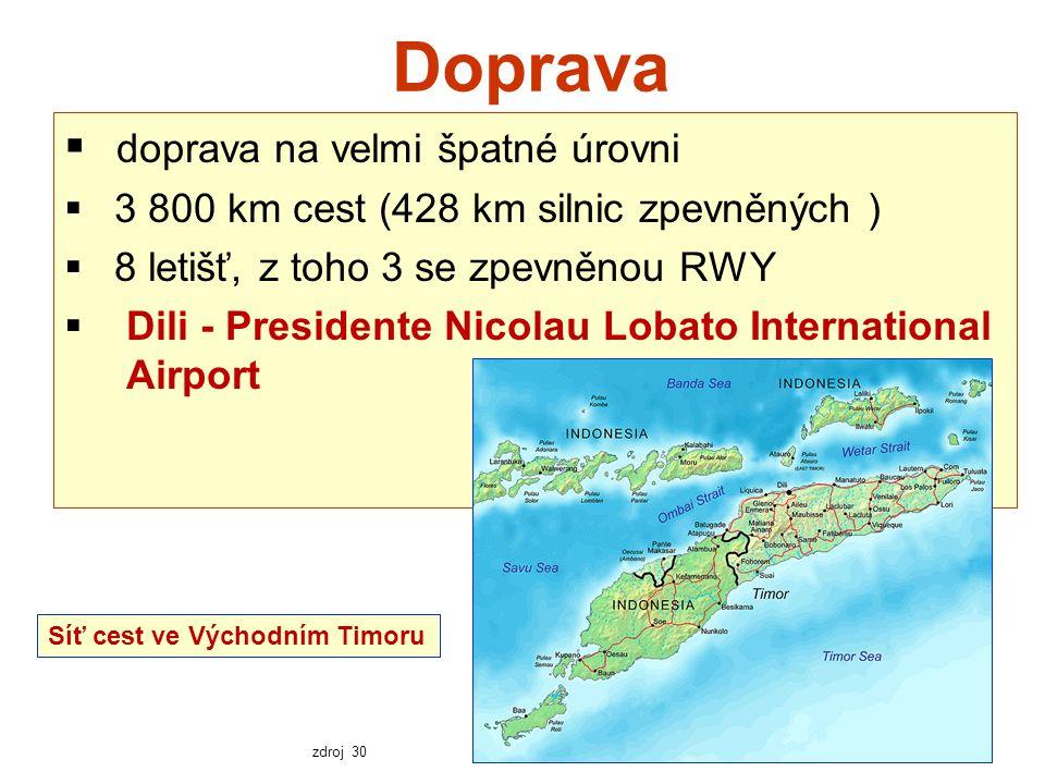 Doprava  doprava na velmi špatné úrovni  3 800 km cest (428 km silnic zpevněných )  8 letišť, z toho 3 se zpevněnou RWY  Dili - Presidente Nicolau