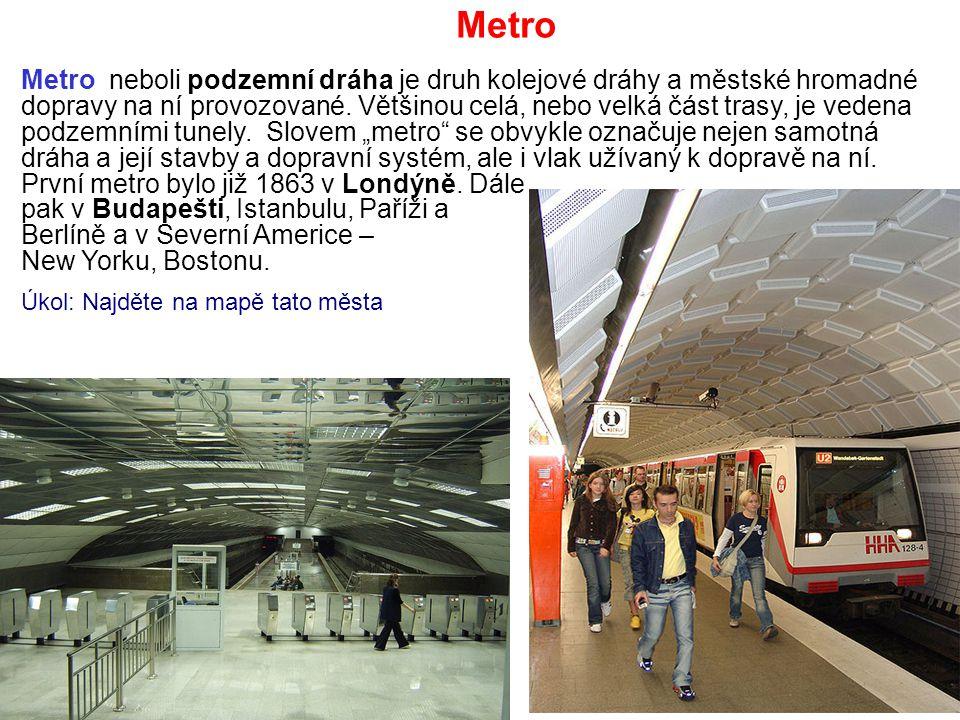 Metro neboli podzemní dráha je druh kolejové dráhy a městské hromadné dopravy na ní provozované. Většinou celá, nebo velká část trasy, je vedena podze