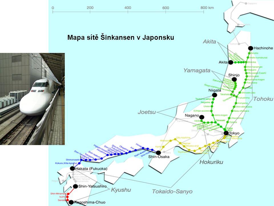 Mapa sítě Šinkansen v Japonsku