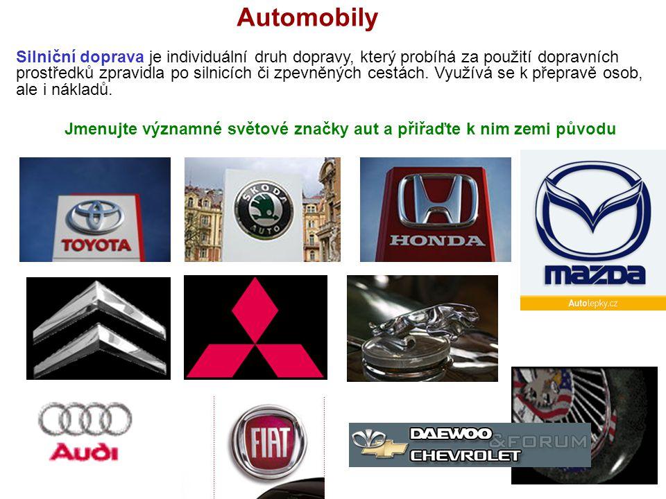 Automobily Jmenujte významné světové značky aut a přiřaďte k nim zemi původu Silniční doprava je individuální druh dopravy, který probíhá za použití dopravních prostředků zpravidla po silnicích či zpevněných cestách.