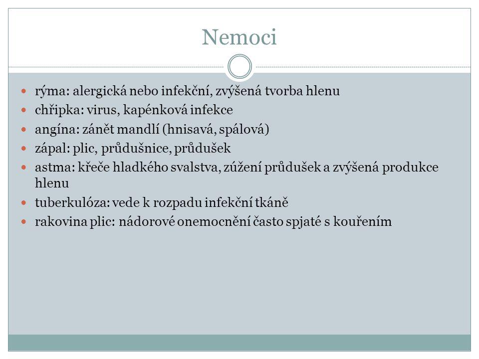 Nemoci rýma: alergická nebo infekční, zvýšená tvorba hlenu chřipka: virus, kapénková infekce angína: zánět mandlí (hnisavá, spálová) zápal: plic, průdušnice, průdušek astma: křeče hladkého svalstva, zúžení průdušek a zvýšená produkce hlenu tuberkulóza: vede k rozpadu infekční tkáně rakovina plic: nádorové onemocnění často spjaté s kouřením