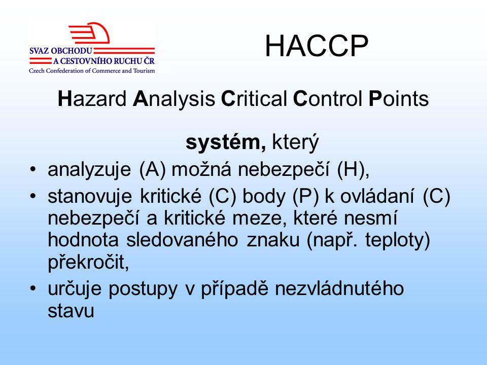 HACCP Hazard Analysis Critical Control Points systém, který analyzuje (A) možná nebezpečí (H), stanovuje kritické (C) body (P) k ovládaní (C) nebezpeč
