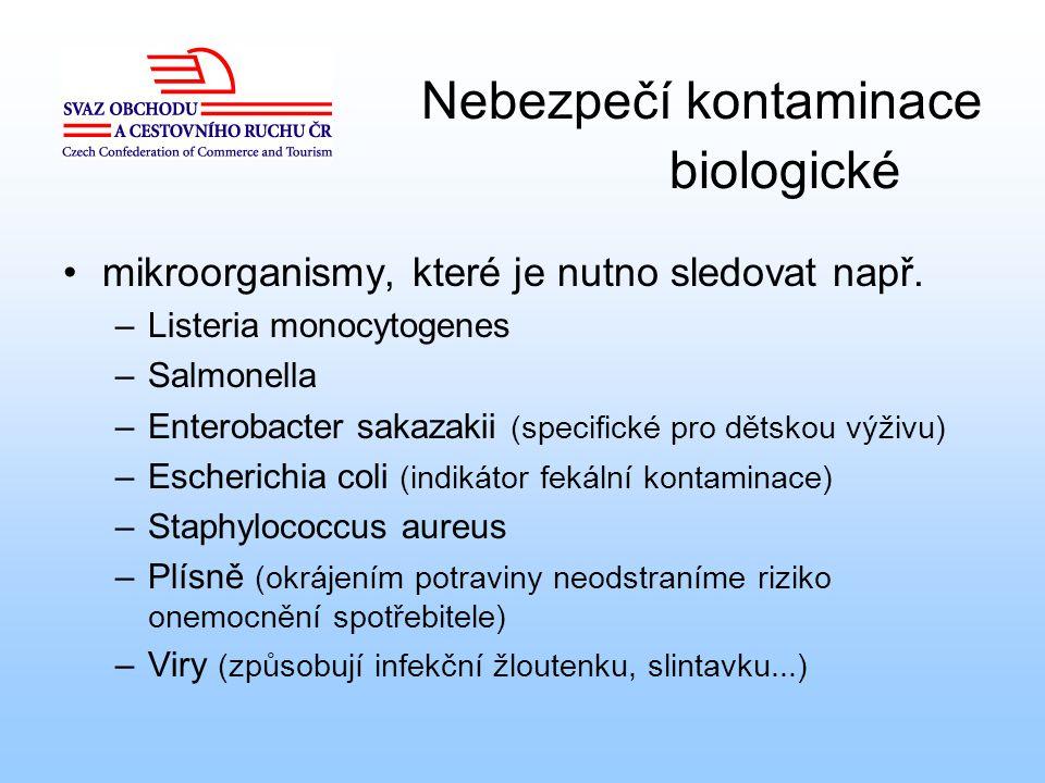 Nebezpečí kontaminace biologické mikroorganismy, které je nutno sledovat např. –Listeria monocytogenes –Salmonella –Enterobacter sakazakii (specifické