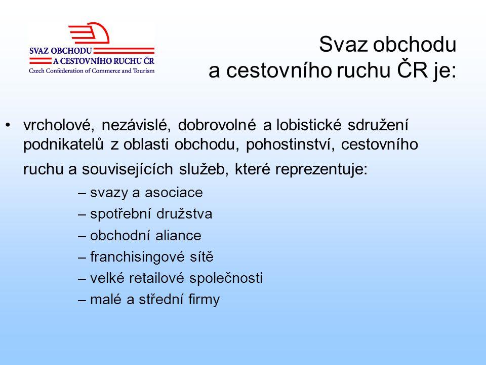 Svaz obchodu a cestovního ruchu ČR je: vrcholové, nezávislé, dobrovolné a lobistické sdružení podnikatelů z oblasti obchodu, pohostinství, cestovního
