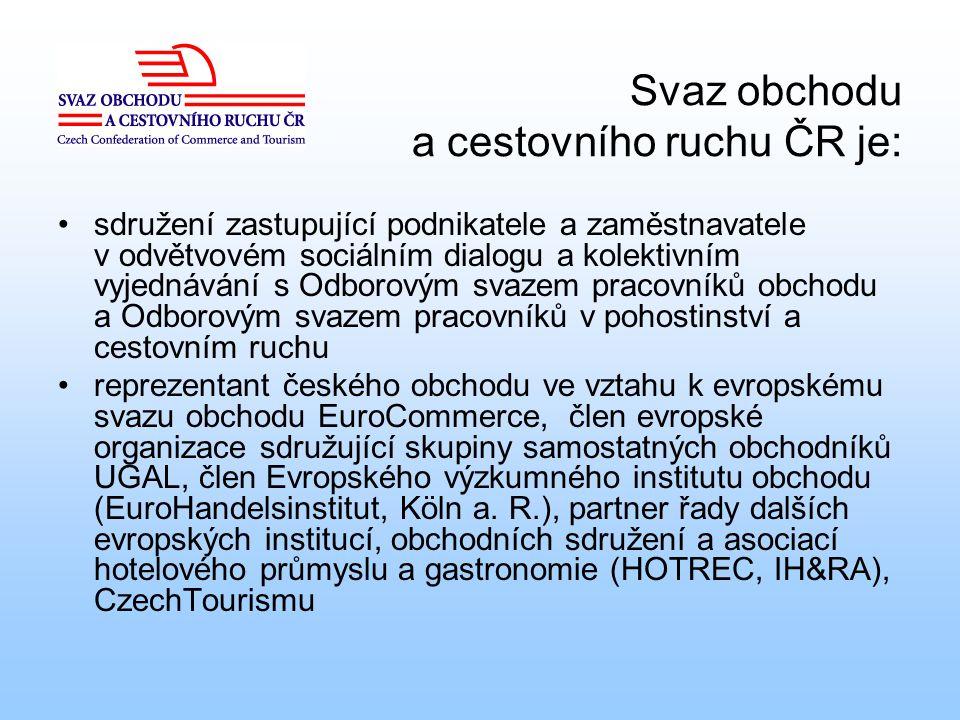 Svaz obchodu a cestovního ruchu ČR je: sdružení zastupující podnikatele a zaměstnavatele v odvětvovém sociálním dialogu a kolektivním vyjednávání s Od