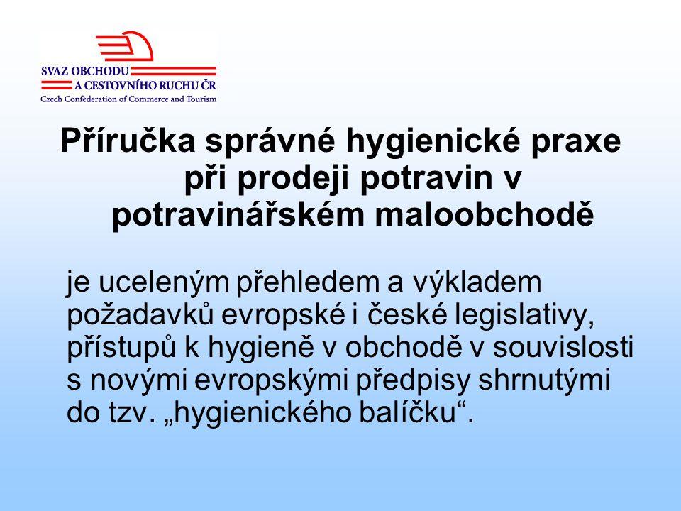 Příručka správné hygienické praxe při prodeji potravin v potravinářském maloobchodě je uceleným přehledem a výkladem požadavků evropské i české legisl