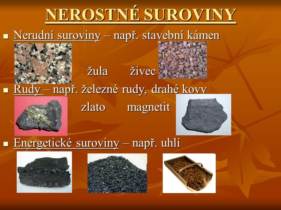 NEROSTNÉ SUROVINY Nerudní suroviny – např. stavební kámen Nerudní suroviny – např. stavební kámen žula živec žula živec Rudy – např. železné rudy, dra