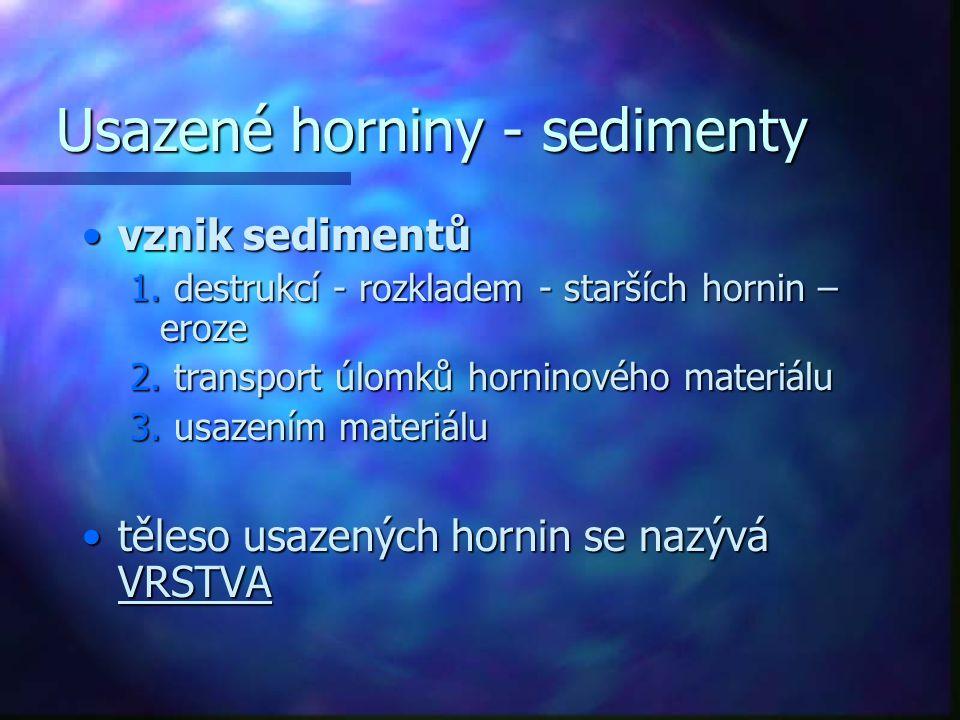 Usazené horniny - sedimenty vznik sedimentůvznik sedimentů 1.