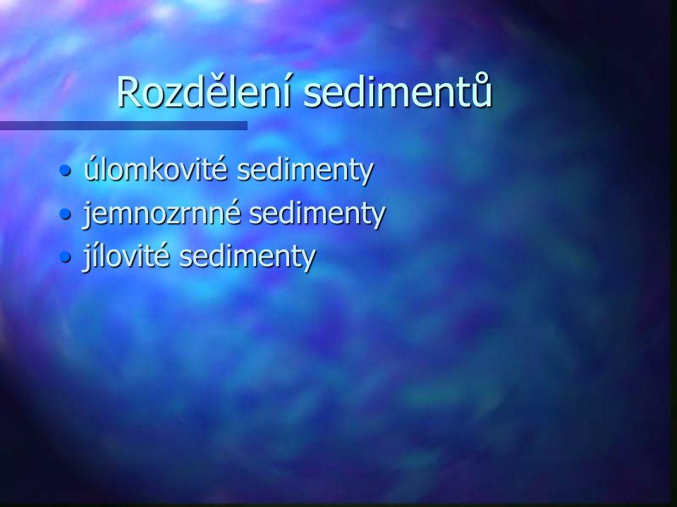 Rozdělení sedimentů úlomkovité sedimentyúlomkovité sedimenty jemnozrnné sedimentyjemnozrnné sedimenty jílovité sedimentyjílovité sedimenty