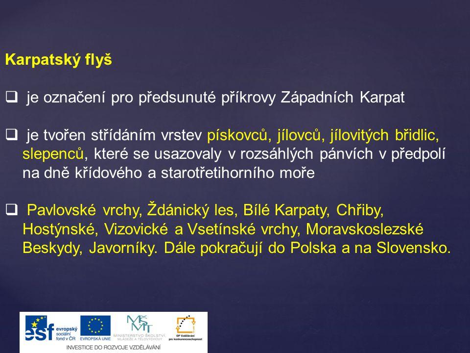 Karpatský flyš  je označení pro předsunuté příkrovy Západních Karpat  je tvořen střídáním vrstev pískovců, jílovců, jílovitých břidlic, slepenců, kt