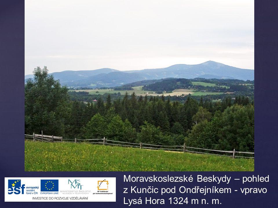 Moravskoslezské Beskydy – pohled z Kunčic pod Ondřejníkem - vpravo Lysá Hora 1324 m n. m.