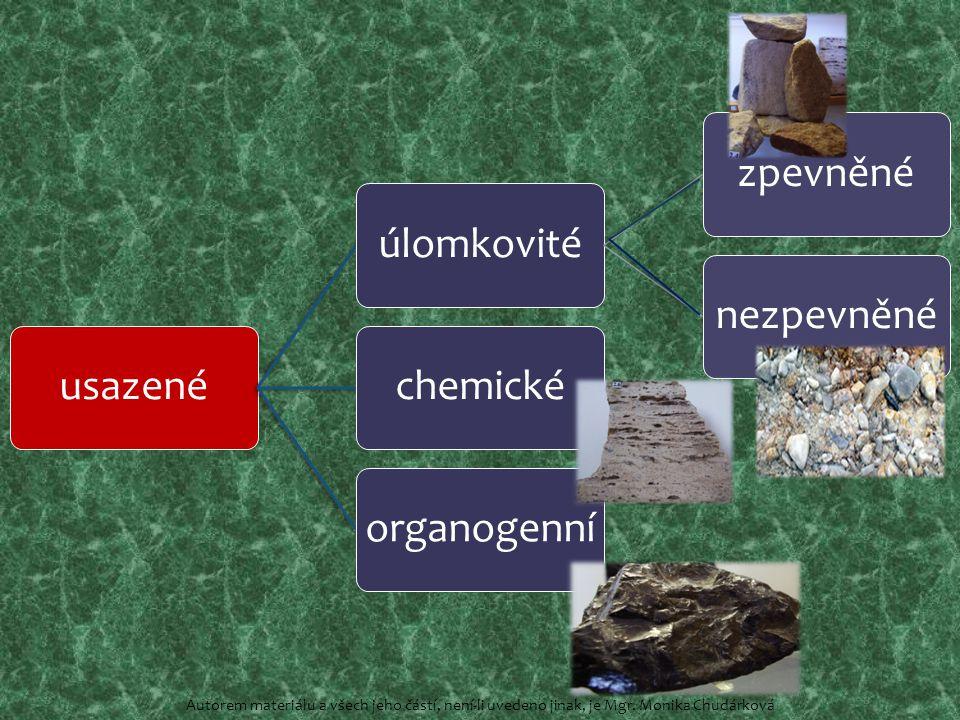 usazenéúlomkovitézpevněnénezpevněnéchemickéorganogenní Autorem materiálu a všech jeho částí, není-li uvedeno jinak, je Mgr.