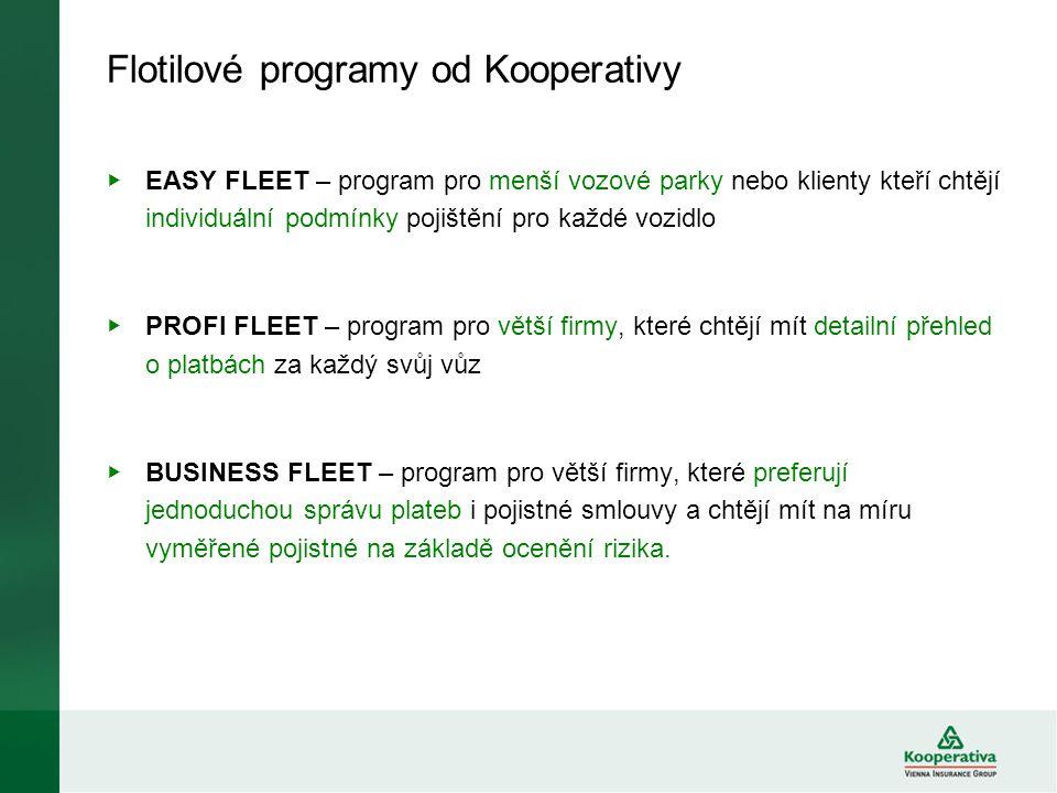 Flotilové programy od Kooperativy ▶ EASY FLEET – program pro menší vozové parky nebo klienty kteří chtějí individuální podmínky pojištění pro každé vo