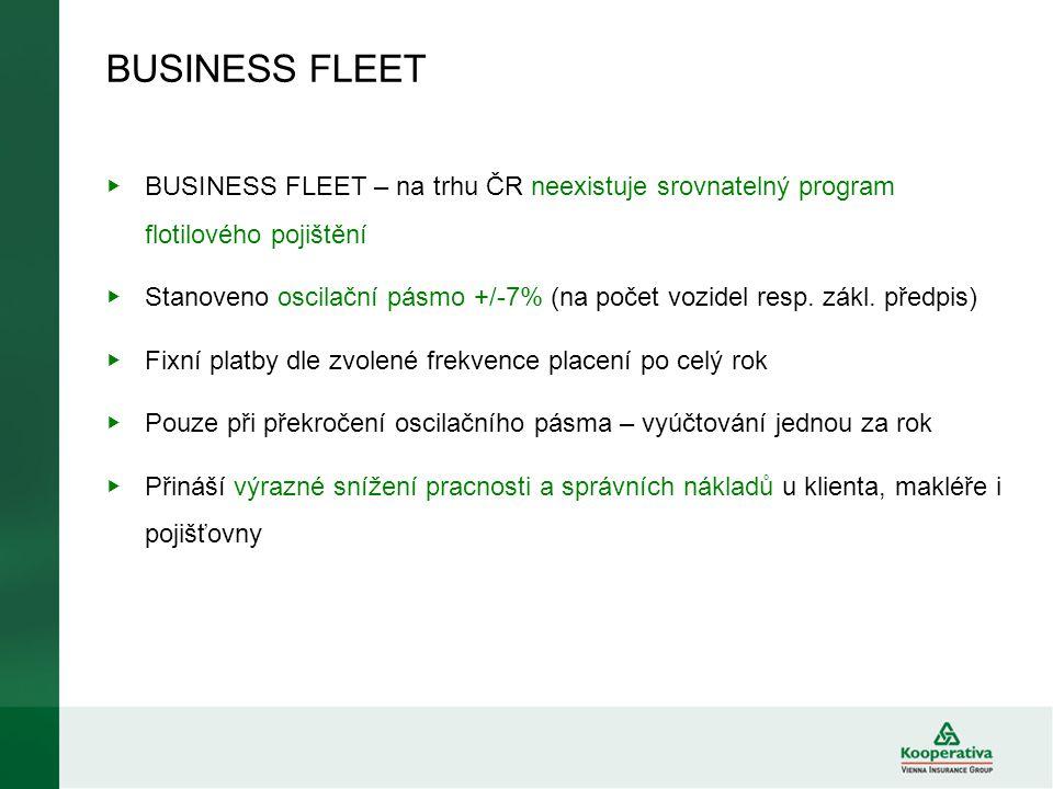 BUSINESS FLEET ▶ BUSINESS FLEET – na trhu ČR neexistuje srovnatelný program flotilového pojištění ▶ Stanoveno oscilační pásmo +/-7% (na počet vozidel