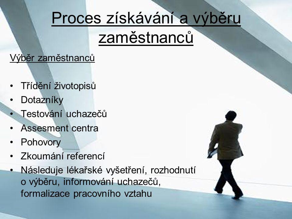Proces získávání a výběru zaměstnanců Výběr zaměstnanců Třídění životopisů Dotazníky Testování uchazečů Assesment centra Pohovory Zkoumání referencí N