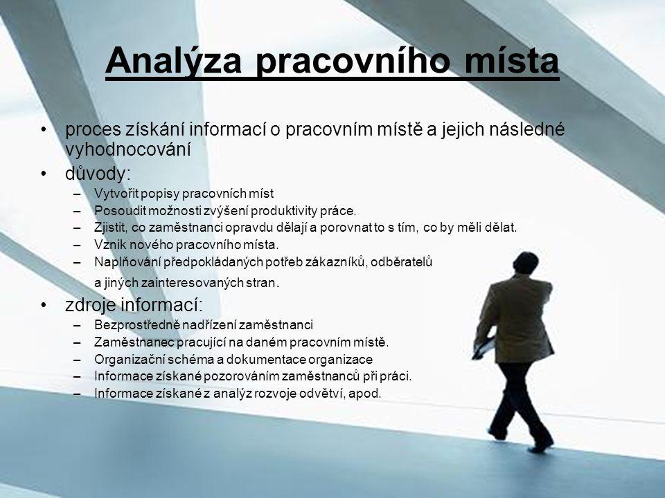Analýza pracovního místa proces získání informací o pracovním místě a jejich následné vyhodnocování důvody: –Vytvořit popisy pracovních míst –Posoudit