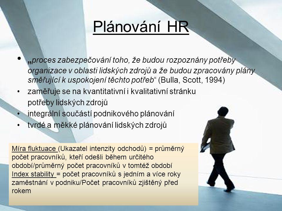"""Plánování HR """" proces zabezpečování toho, že budou rozpoznány potřeby organizace v oblasti lidských zdrojů a že budou zpracovány plány směřující k usp"""