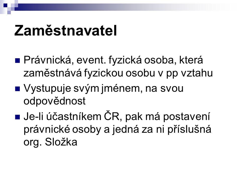 Zaměstnavatel Právnická, event.