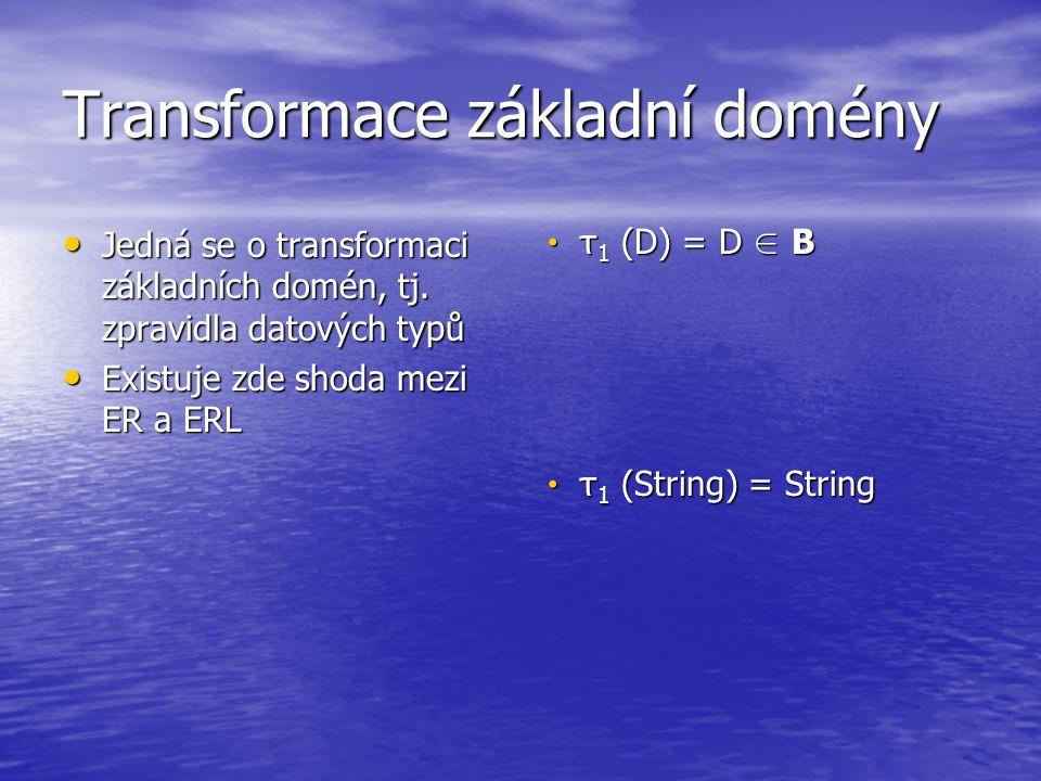 Transformace základní domény Jedná se o transformaci základních domén, tj. zpravidla datových typů Jedná se o transformaci základních domén, tj. zprav