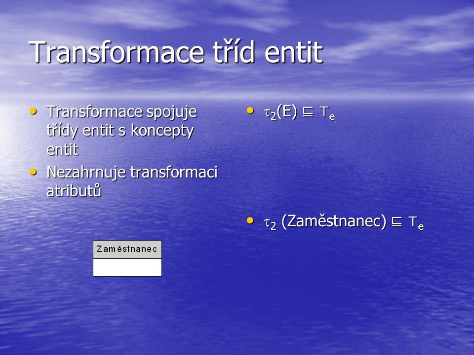 Transformace tříd entit Transformace spojuje třídy entit s koncepty entit Transformace spojuje třídy entit s koncepty entit Nezahrnuje transformaci atributů Nezahrnuje transformaci atributů  2 (E) ⊑ ⊤ e  2 (E) ⊑ ⊤ e  2 (Zaměstnanec) ⊑ ⊤ e  2 (Zaměstnanec) ⊑ ⊤ e