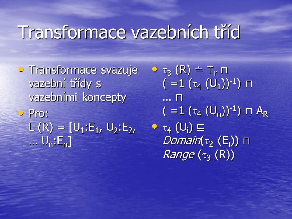 Transformace vazebních tříd Transformace svazuje vazební třídy s vazebními koncepty Transformace svazuje vazební třídy s vazebními koncepty Pro: L (R) = [U 1 :E 1, U 2 :E 2, … U n :E n ] Pro: L (R) = [U 1 :E 1, U 2 :E 2, … U n :E n ]  3 (R) ≐ ⊤ r ⊓ ( =1 (  4 (U 1 )) -1 ) ⊓ … ⊓ ( =1 (  4 (U n )) -1 ) ⊓ A R  3 (R) ≐ ⊤ r ⊓ ( =1 (  4 (U 1 )) -1 ) ⊓ … ⊓ ( =1 (  4 (U n )) -1 ) ⊓ A R  4 (U i ) ⊑ Domain(  2 (E i )) ⊓ Range (  3 (R))  4 (U i ) ⊑ Domain(  2 (E i )) ⊓ Range (  3 (R))