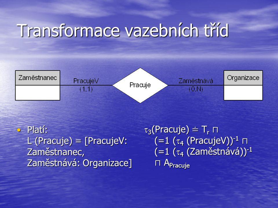 Transformace vazebních tříd  3 (Pracuje) ≐ T r ⊓ (=1 (  4 (PracujeV)) -1 ⊓ (=1 (  4 (Zaměstnává)) -1 ⊓ A Pracuje Platí: L (Pracuje) = [PracujeV: Zaměstnanec, Zaměstnává: Organizace] Platí: L (Pracuje) = [PracujeV: Zaměstnanec, Zaměstnává: Organizace]