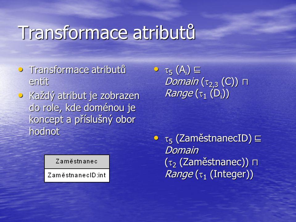 Transformace atributů Transformace atributů entit Transformace atributů entit Každý atribut je zobrazen do role, kde doménou je koncept a příslušný obor hodnot Každý atribut je zobrazen do role, kde doménou je koncept a příslušný obor hodnot  5 (A i ) ⊑ Domain (  2,3 (C)) ⊓ Range (  1 (D i ))  5 (A i ) ⊑ Domain (  2,3 (C)) ⊓ Range (  1 (D i ))  5 (ZaměstnanecID) ⊑ Domain (  2 (Zaměstnanec)) ⊓ Range (  1 (Integer))  5 (ZaměstnanecID) ⊑ Domain (  2 (Zaměstnanec)) ⊓ Range (  1 (Integer))