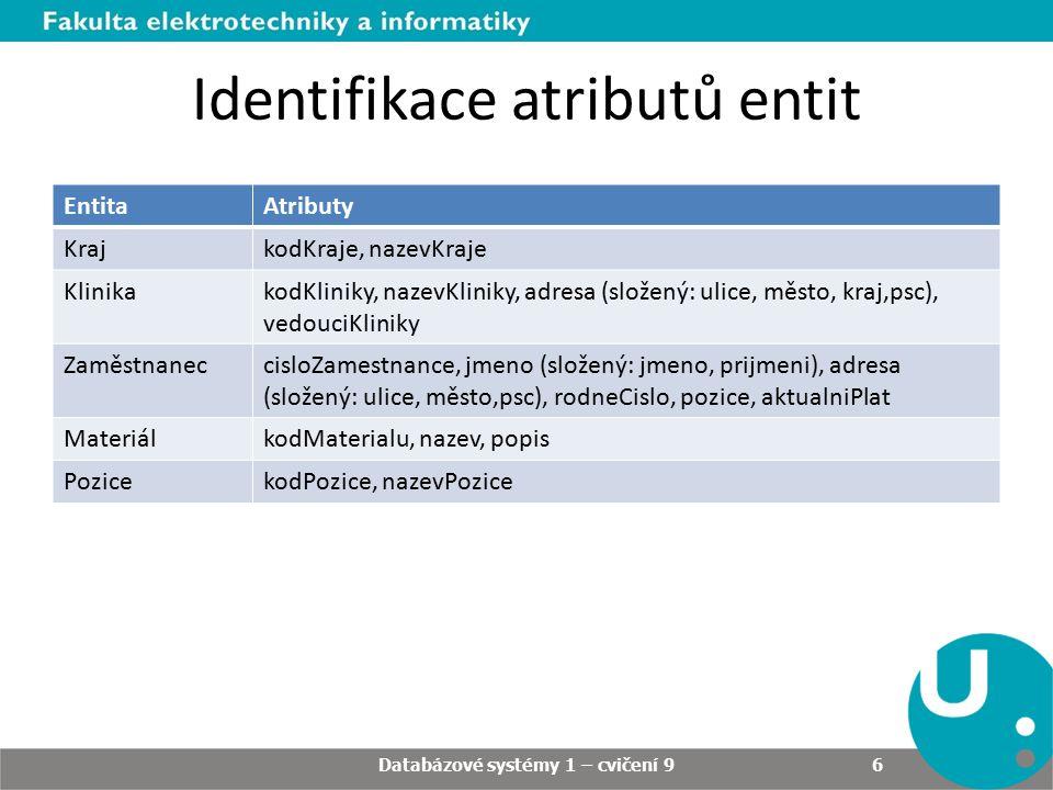 Identifikace atributů relací RelaceAtributy Skladujemnozstvi Databázové systémy 1 – cvičení 9 7