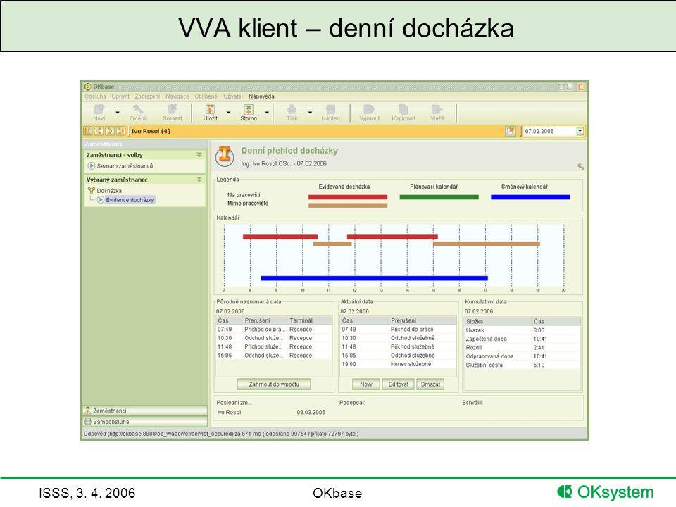 ISSS, 3. 4. 2006OKbase VVA klient – denní docházka