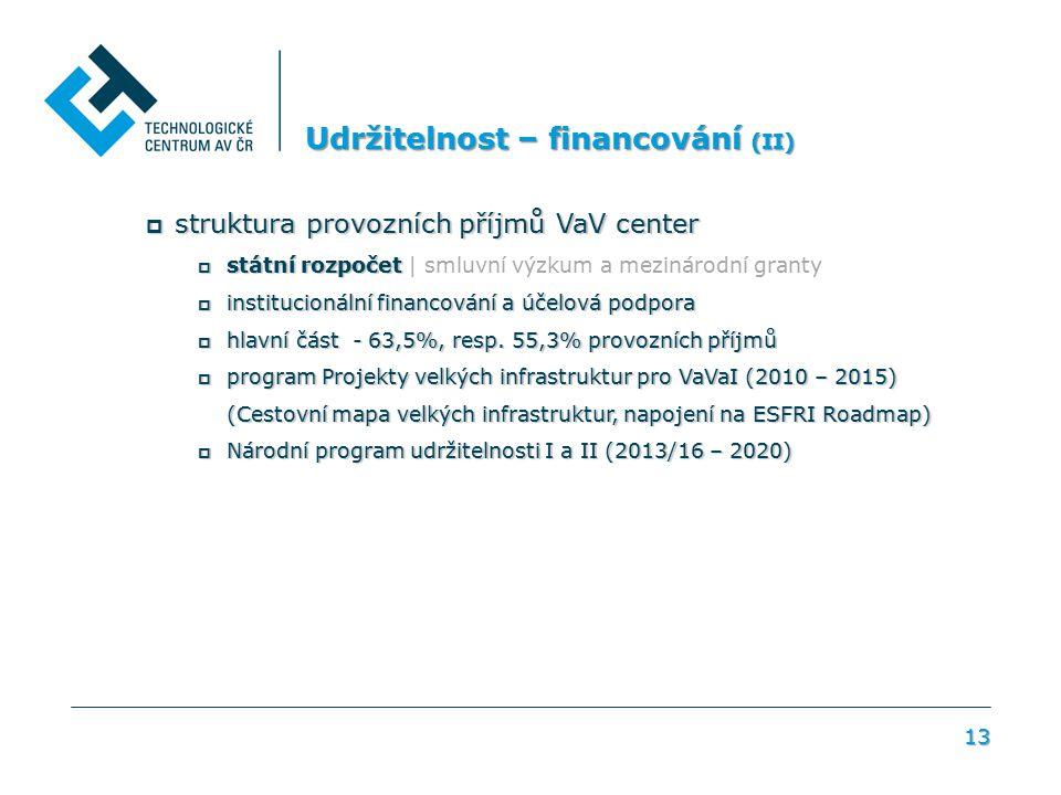 13 Udržitelnost – financování (II)  struktura provozních příjmů VaV center  státní rozpočet  státní rozpočet | smluvní výzkum a mezinárodní granty  institucionální financování a účelová podpora  hlavní část - 63,5%, resp.