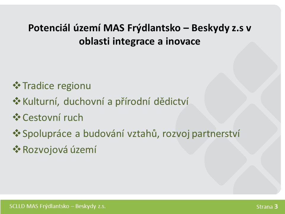 SCLLD MAS Frýdlantsko – Beskydy z.s. Strana 3 Potenciál území MAS Frýdlantsko – Beskydy z.s v oblasti integrace a inovace  Tradice regionu  Kulturní