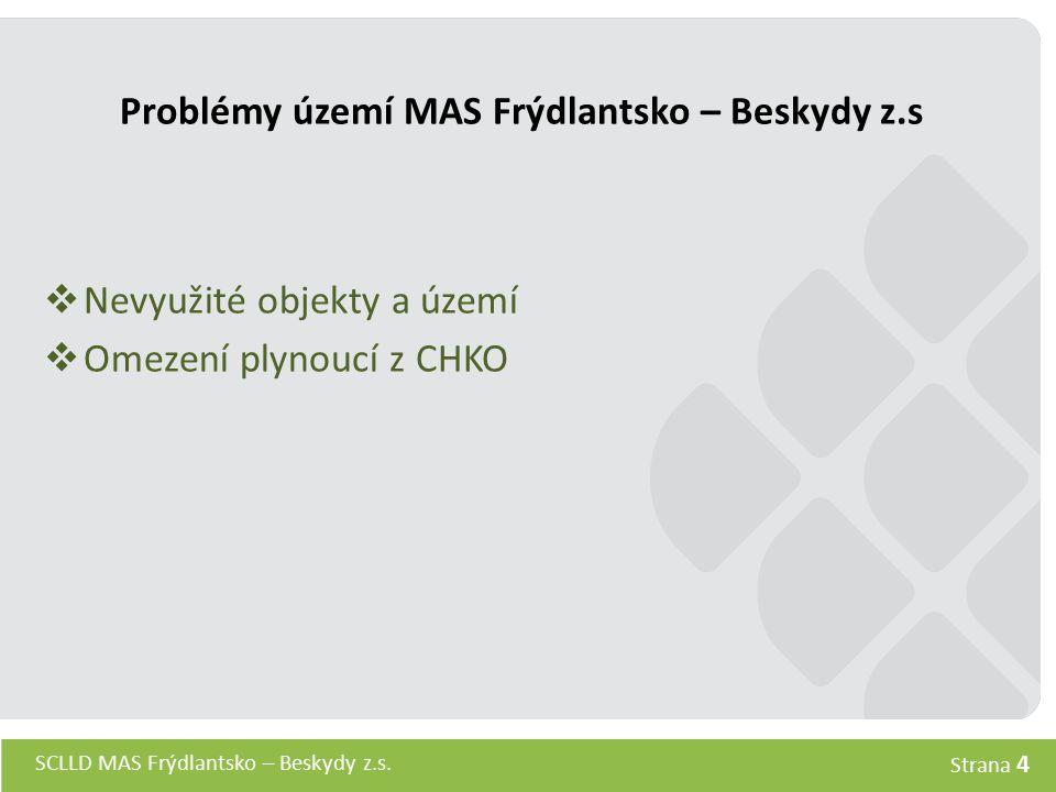 SCLLD MAS Frýdlantsko – Beskydy z.s. Strana 4 Problémy území MAS Frýdlantsko – Beskydy z.s  Nevyužité objekty a území  Omezení plynoucí z CHKO