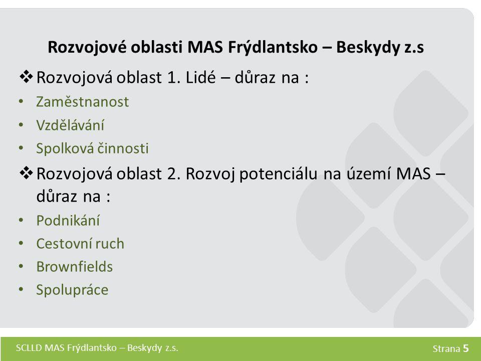 SCLLD MAS Frýdlantsko – Beskydy z.s. Strana 5 Rozvojové oblasti MAS Frýdlantsko – Beskydy z.s  Rozvojová oblast 1. Lidé – důraz na : Zaměstnanost Vzd