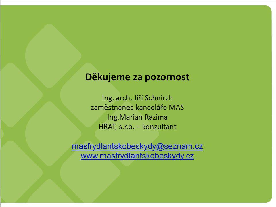 SCLLD MAS Frýdlantsko – Beskydy z.s. Strana 9 Děkujeme za pozornost Ing. arch. Jiří Schnirch zaměstnanec kanceláře MAS Ing.Marian Razima HRAT, s.r.o.