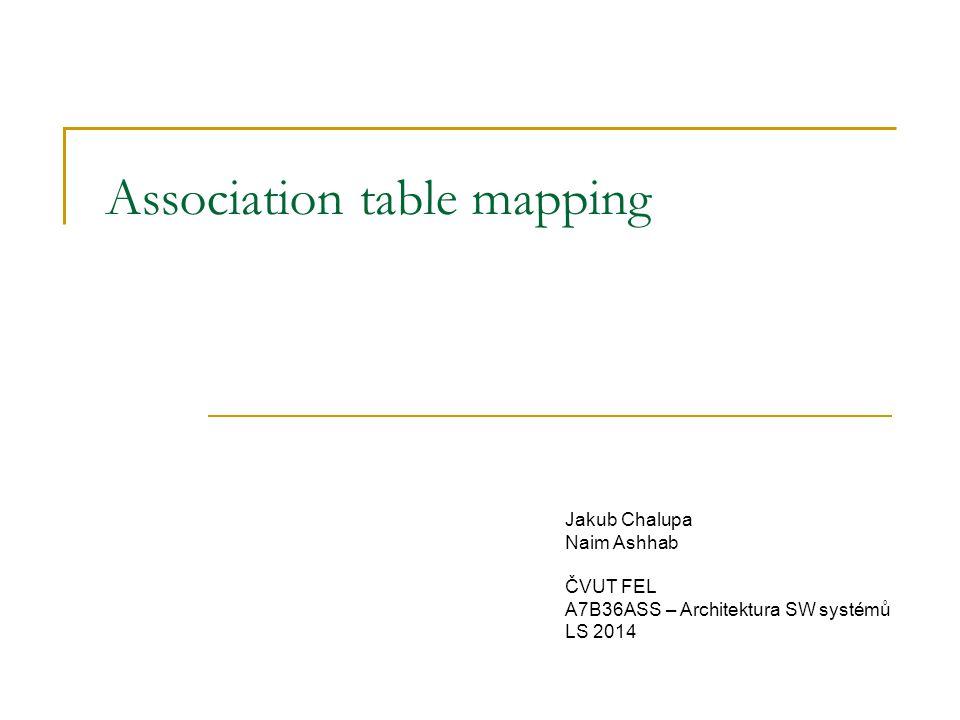 Association table mapping Jakub Chalupa Naim Ashhab ČVUT FEL A7B36ASS – Architektura SW systémů LS 2014