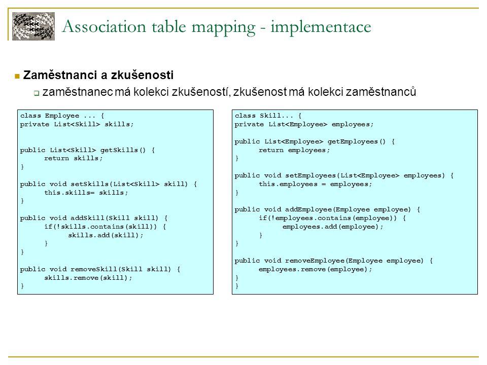 Association table mapping - implementace Zaměstnanci a zkušenosti  zaměstnanec má kolekci zkušeností, zkušenost má kolekci zaměstnanců class Employee...