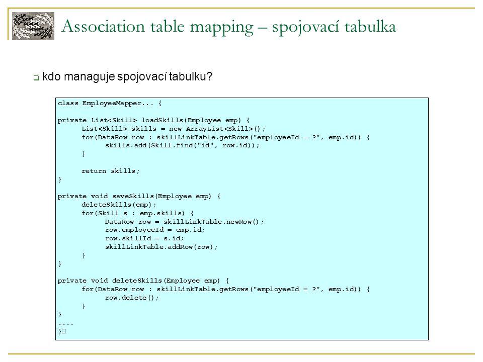 Association table mapping – spojovací tabulka  kdo managuje spojovací tabulku.