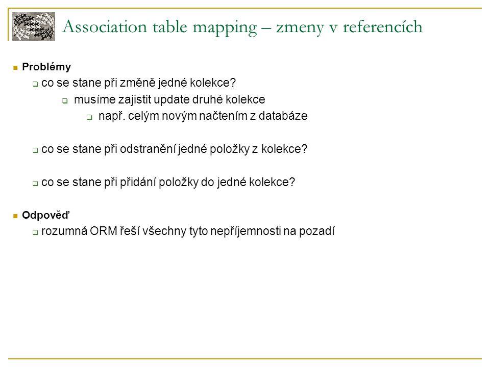 Association table mapping – zmeny v referencích Problémy  co se stane při změně jedné kolekce.