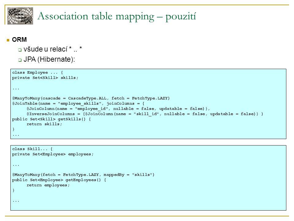 Association table mapping – pouzití ORM  všude u relací *..