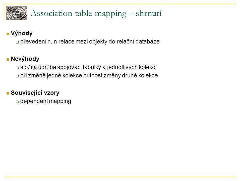 Association table mapping – shrnutí Výhody  převedení n..n relace mezi objekty do relační databáze Nevýhody  složitá údržba spojovací tabulky a jednotlivých kolekcí  při změně jedné kolekce nutnost změny druhé kolekce Související vzory  dependent mapping