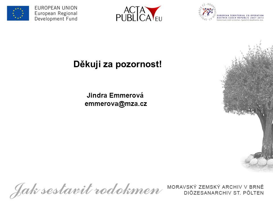 Děkuji za pozornost! Jindra Emmerová emmerova@mza.cz