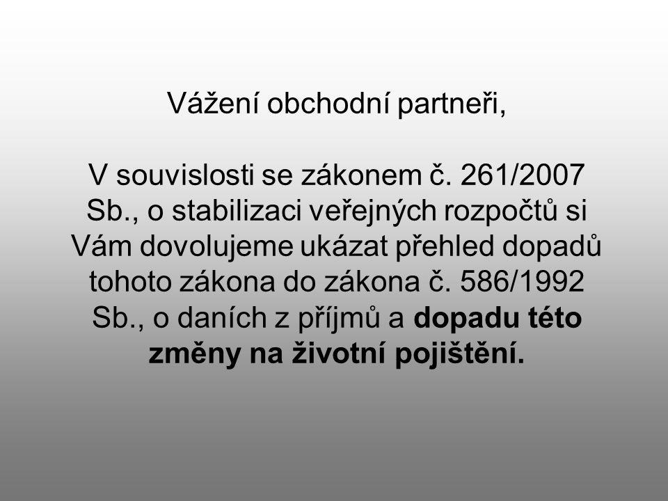 Vážení obchodní partneři, V souvislosti se zákonem č.