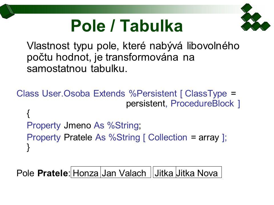 Pole / Tabulka Vlastnost typu pole, které nabývá libovolného počtu hodnot, je transformována na samostatnou tabulku. Class User.Osoba Extends %Persist