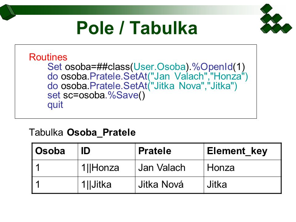 Pole / Tabulka Routines Set osoba=##class(User.Osoba).%OpenId(1) do osoba.Pratele.SetAt(